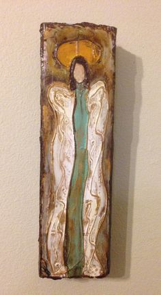 Original Handmade Textured Angel Painting by ThreeTomatoes on Etsy
