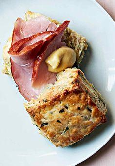 Herb biscuit with ham