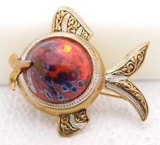 Vintage Spain Signed Damascene Red Glass Jelly Belly Pin Brooch