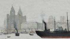 """""""The Liver Buildings, Liverpool"""".A rare painting of Liverpool waterfront by L. Liverpool Waterfront, Liverpool City, Liverpool England, English Artists, British Artists, River Painting, Liverpool History, Building Painting, Irish Art"""