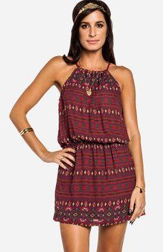 Burgundy Red Print dress