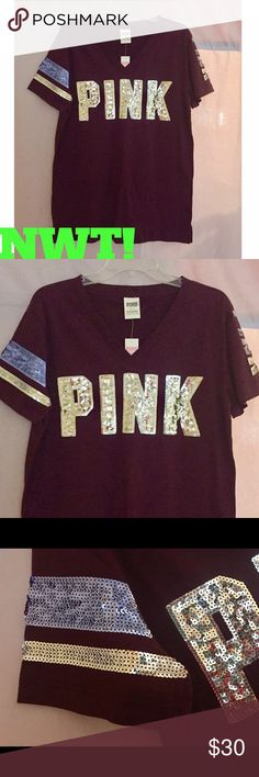 NWT! PINK VS CAMPUS SEQUIN V NECK TOP ⭐ABSOLUTELY GORGEOUS!⭐PINK VS CAMPUS V NECK TOP COVERED IN SEQUINS!⭐This maroon colored top has PINK across the front in huge letters in silver sequins as well as on the left sleeve-see pic #2. Also has 2 stripes-1 in a pretty lavender color & in silver-see pic#3. The back is plain but you can see the lavender & silver stripes on the sleeve as well as PINK on the other. ⭐NO I DO NOT TRADE OR APPRECIATE LOWBALL OFFERS-THANK YOU!⭐ PINK Victoria's Secret…