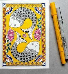 Madhubani Art, Madhubani Painting, Krishna Painting, Mandala Art, Mandala Drawing, Traditional Paintings, Traditional Art, Indian Art Paintings, Simple Paintings