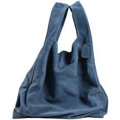 MAISON MARTIN MARGIELA Handbag (1,490 GTQ) ❤ liked on Polyvore featuring bags, handbags, accessories, bags/purse, slate blue, suede bag, maison margiela, suede purse, strap bag and blue suede bag