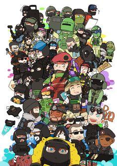 ถูกฝังไว้ Rainbow Six Siege Memes, Rainbow Six Siege Art, Rainbow 6 Seige, Tom Clancy's Rainbow Six, Video Game Art, Rambo 6, Videogames, Chibi, Clowns