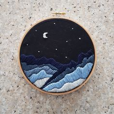 Night-time mountains stars embroidery for my boyfriends birthday <3 #sewing #crafts #handmade #quilting #fabric #vintage #DIY #craft #knitting