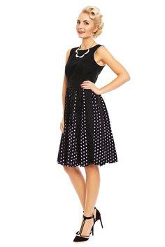 863b8b1eded Judith Chiffon Retro Pleated Dress in Black Polka Dots