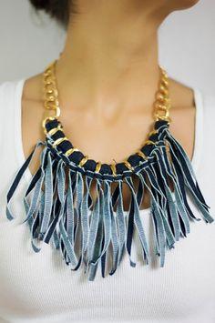 Dril de algodón flecos collar /Denim / collar de por Monamumiranda