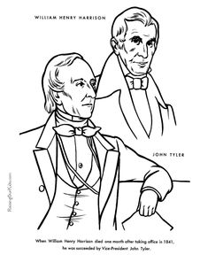 President Day William Henry Harrison Coloring Pages Kids