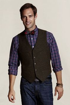 Lands' End Canvas Holiday Look - Men's Donegal Vest ($150.00) and Tartan Plaid Bowtie.  This holiday, take your sophisticated look to the next level with these two pieces.