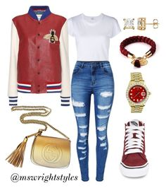 """""""Untitled #380"""" by mswrightstyles on Polyvore featuring Vans, RE/DONE, WithChic, Gucci and Rolex"""