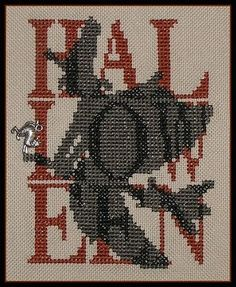 Halloween Witch Shadow Words Counted Cross Stitch Pattern #crossstitch #witch #halloween #needlework #pattern #charms