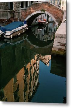 Venetian Reflections Metal Print by Marina Usmanskaya.  All metal prints are professionally printed, packaged, and shipped within 3 - 4 business days and delivered ready-to-hang on your wall. Choose from multiple sizes and mounting options.  Venetian Reflections by Marina Usmanskaya. September in Venice.  #MarinaUsmanskayaFineArtPhotography #HomeDecor #ArtForHome #Venice #Reflection #fineartprints
