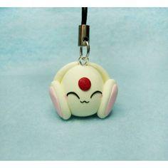 White Mokona, Keychain,Mobile accessorioes,llavero,colgante movil,fimo,anime,manga,clamp,