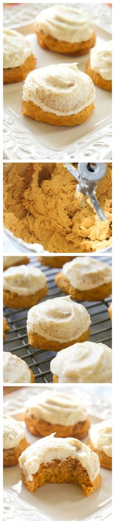 Pumpkin Cookies - melt in your mouth cookies with cream cheese frosting.