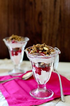My husband has finally switched jobs and won't be traveling. We're most excited he'll be home for weekday breakfasts from now on! Saw this recipe for Mocha Granola Parfaits from Annie's Eats and realized it would be a perfect treat to surprise him with this first week home for good. What does your family enjoy on a normal weekday morning?