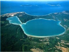 aerial view of Little Glen Lake, Big Glen Lake and Lake Michigan