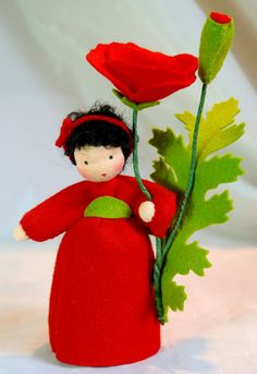 Wool-felted, Waldorf-Inspired Little Girl 'RED POPPY' Flower Fairy Child ................................................................................................ by KatjasFlowerFairys | Etsy