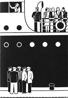 At the quay.Gerd Arntz- note ratio's on artwork