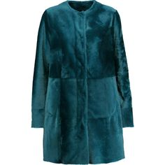 Drome - Lacoon Reversible Shearling Coat (28,235 THB) ❤ liked on Polyvore featuring outerwear, coats, petrol, blue coat, drome coat, sheep fur coat, shearling coat and reversible coat