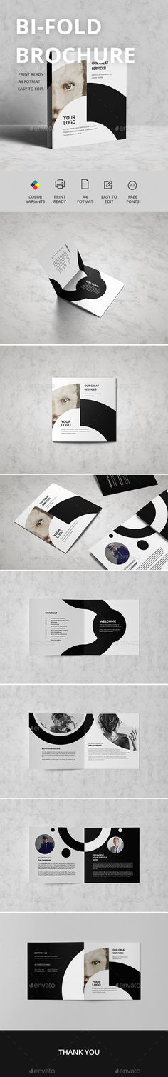 Bifold Brochure — InDesign INDD #design #clean • Download ➝ https://graphicriver.net/item/bifold-brochure/18982279?ref=pxcr
