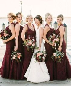 20 Stunning Marsala Bridesmaid Dress Ideas For Fall Weddings: #18. Structured burgundy maxi bridesmaid dresses