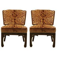 1950s silk-velvet leopard print chairs
