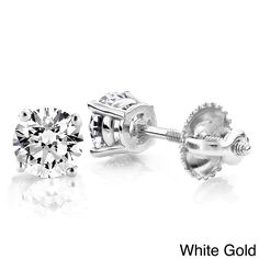Luxurman 18k Gold 1/3ct TDW Solitaire Round Diamond Stud Earrings (H, SI ) (18k