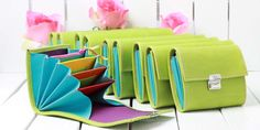 colorful leather wallets green