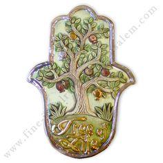 Handmade ceramic Hamsa with tree of life design