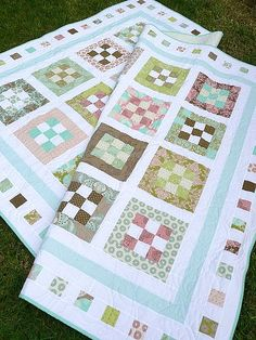 Sweet Menagerie Nine-patch Quilt Tutorial on Moda Bake Shop at… 9 Patch Quilt, Quilt Blocks, Jellyroll Quilts, Scrappy Quilts, Easy Quilts, Quilting Tutorials, Quilting Projects, Quilting Designs, Quilting Ideas