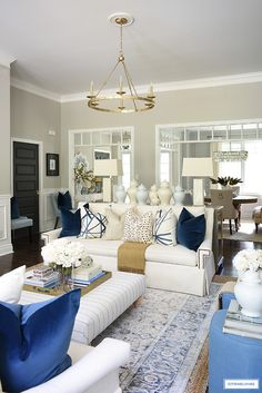 Living room fall decor with navy blue accents, brown, gold and cream. Brown And Gold Living Room, Blue And Cream Living Room, Fall Living Room, Navy Living Rooms, Living Room Decor Colors, Living Room Color Schemes, Living Room Inspiration, Decoration, Fall Decor