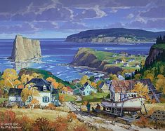 St-Gilles, 'Octobre à Percé, Qc', 40'' x 50'' | Galerie d'art - Au P'tit Bonheur - Art Gallery Canadian Painters, Canadian Artists, Landscape Art, Landscape Paintings, Images D'art, Art Gallery, Boat Art, Art Pictures, Photos