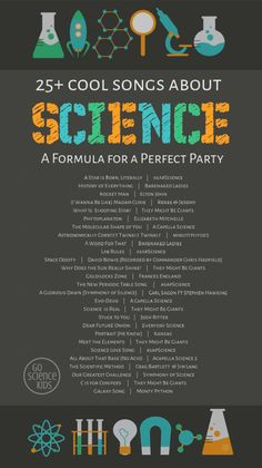 25+ Science Songs that will rock your playlist – Go Science Kids Preschool Science Activities, Science Jokes, Science Experiments Kids, Science For Kids, Science Projects, Science Ideas, Molecular Shapes, Stem For Kids, Scientific Method