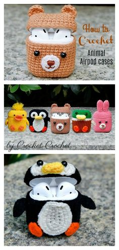 How to Crochet 5 Animal Style Airpods Cases This Adorable Airpods Case Crochet Pattern makes a cute case that holds the Airpods. They are easy to make and use up very little yarn and offer instant gratification crafting. Crochet Animal Patterns, Stuffed Animal Patterns, Crochet Patterns Amigurumi, Crochet Animals, Knitting Patterns, Crocheting Patterns, Amigurumi Toys, Pouf En Crochet, Crochet Case