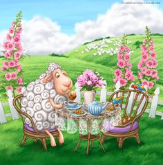 Sheep Tea time by LiaSelina.deviantart.com on @DeviantArt
