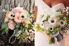 {rose and poppy bouquet by Honey and Poppies, photo by Love Me Sailor via 100 Layer Cake; sweet pea, anemone, and jasmine bouquet by KLF Floral, photo by Stephanie Williams Photography via Southern Weddings}