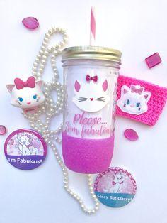 Please...I'm Fabulous~ Marie~ Aristocats~ Cat~ Disney~ Glitter Dipped~ Tumbler~ Pink~ Coffee~ Mason Jar