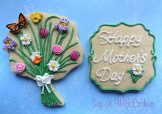 Mother's Day Flowers Bouquet cookies. hand decorated sugar cookies
