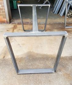 DIY Industrial trapezoid steel dining table legs with central support brace RAW