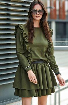 Numinou Dresowy komplet khaki NU193 Skater Skirt, Skirts, Fun, Style, Fashion, Fin Fun, Moda, Fashion Styles, Skater Skirts