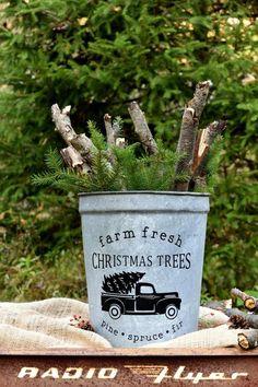 Christmas Tree Bucket, Fresh Christmas Trees, Christmas Planters, Christmas Porch, Farmhouse Christmas Decor, Country Christmas, White Christmas, Christmas Crafts, Christmas Decorations