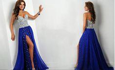 Online Shop 2014 New Arrival Ritzee Side Slit Crystal Sheath Sweetheart Heavy Beading Bodice Royal Blue Prom Dress girl party dress|Aliexpress Mobile