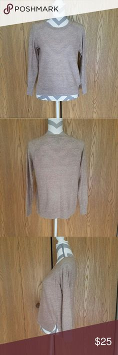 J. Crew Lightweight Cream Sweater! Creamy tan long sleeved sweater with slight high-low style. 55% merino wool and 45% linen. Loose fitting style. Length is about 24 inches and armpit to armpit is about 19 inches. Great condition! J. Crew Sweaters Crew & Scoop Necks