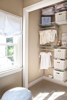 We love this beautiful, gender neutral, elfa nursery closet!