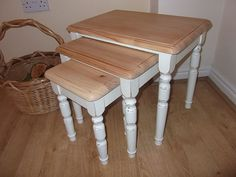 solid pine country farmhouse shabby chic nest of tables side table