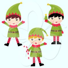 This cute Christmas clip art shows images of charming little elf clip art.  Santa's little helpers have never been so adorable!   #clipart