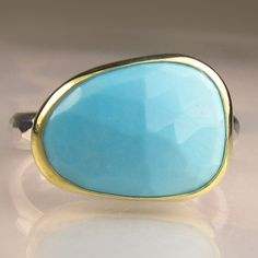 Rose Cut Sleeping Beauty Turquoise Ring 18k Gold by JanishJewels