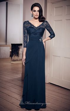 150115a593 VM Collection 70806 Mother of the Bride Dress- Three quarter sleeve V neck  Chiffon Dress with Lace bodice.