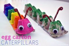 Egg Carton Caterpillar – Balancing Home – Basteln Kinder – Home crafts Kids Crafts, Craft Projects For Kids, Summer Crafts, Toddler Crafts, Preschool Crafts, Diy For Kids, Arts And Crafts, Craft Ideas, Craft Work